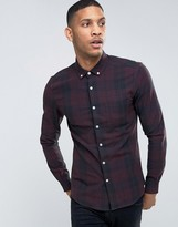 Asos Skinny Mid Scale Check Shirt In Purple