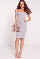 Missguided Petite V Front Bardot Mini Dress Grey