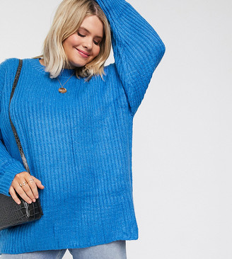 Asos DESIGN Curve chunky sweater in rib with crew neck