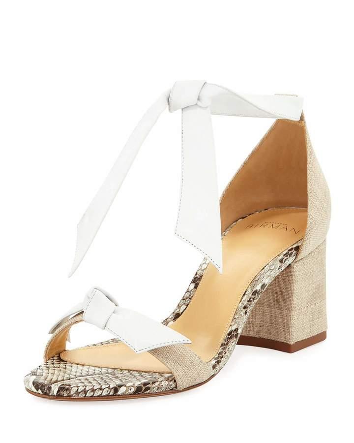 Alexandre Birman Clarita Mixed Block-Heel Sandal