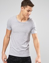 Asos Muscle T-shirt With Scoop Neck In Grey Marl