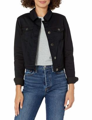 Cover Girl Women's Jeans Denim Jacket Crop Frayed Blue Distressed Basic Black Denim Size Medium