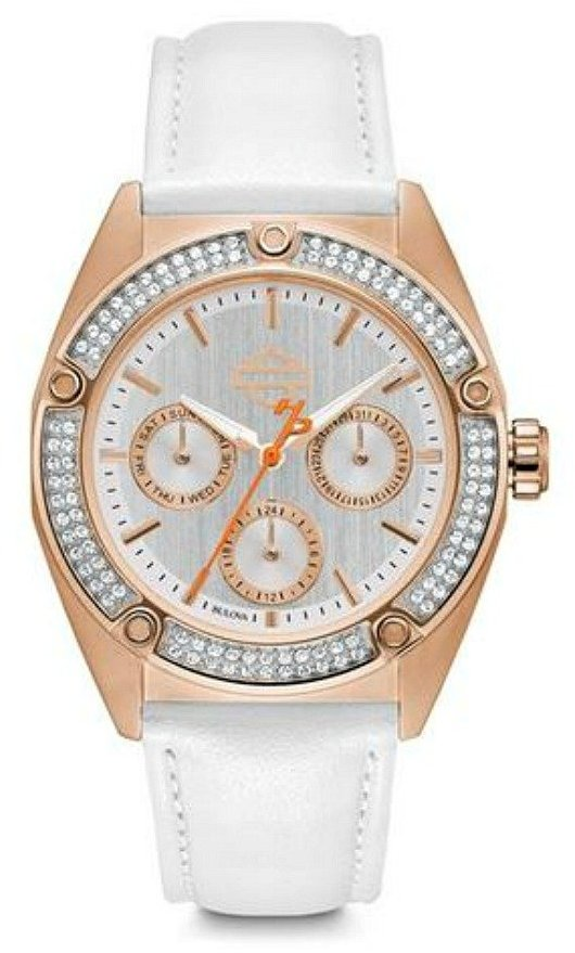 Harley-Davidson Women's Rose-Gold-Tone Stainless Steel Chronograph Watch with Swarovski Crystals
