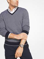 Michael Kors Check Cotton V-Neck Pullover