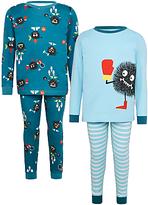John Lewis Children's Sports Monster Pyjamas, Pack of 2, Teal/Blue