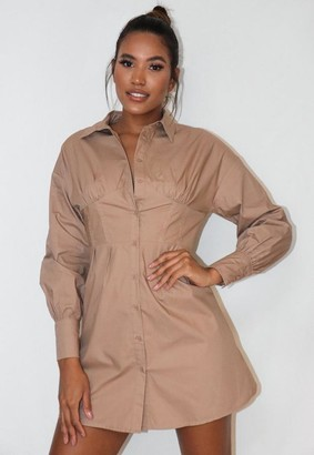 Missguided Stone Corset Stitch Shirt Dress
