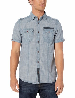 Buffalo David Bitton Men's Short Sleeve Button Down Blue Sulfur Chambray Shirt