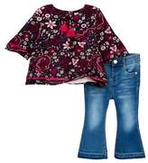 Jessica Simpson Floral Blouse & Flared Jeans Set (Baby Girls)
