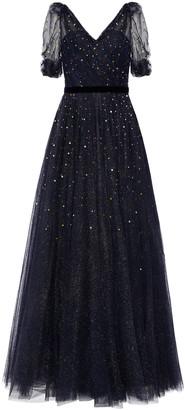 Jenny Packham Velvet-trimmed Crystal-embellished Glittered Tulle Gown