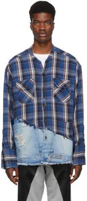 Greg Lauren Blue 50/50 Plaid/Denim Studio Shirt