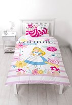"Disney Alice Through The Looking Glass ""Curious"" Panel Print Duvet Set, Polyester-Cotton, Multi-Colour, Single"