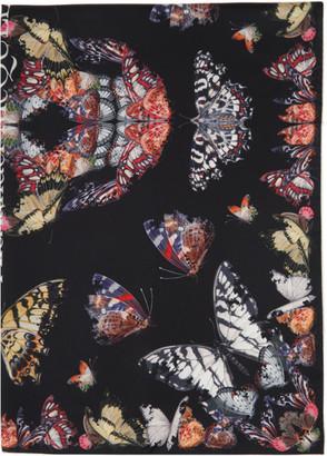 Alexander McQueen Black Silk Butterfly Decay Skull Scarf
