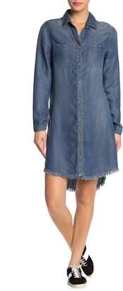 C&C California Frayed High/Low Tencel Shirt Dress