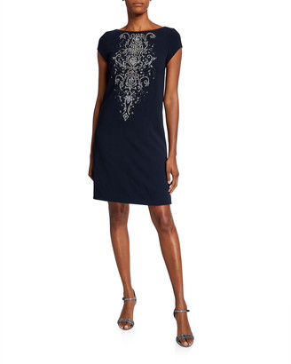 Theia Beaded Front Cap-Sleeve Bateau-Neck A-Line Dress
