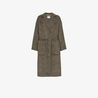 Nanushka Houndstooth Belted wool Trench Coat