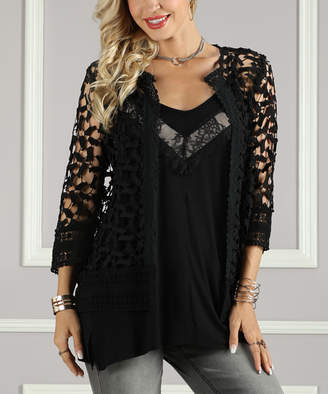 Suzanne Betro Women's Cardigans 101BLACK - Black Lace Cardigan - Women & Plus