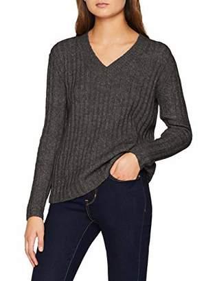 Pieces Women's Pcsanni Ls Wool V-Neck Knit Jumper, Dark Grey Melange, 12 (Size: )