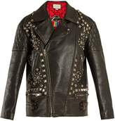 Gucci Stud-embellished distressed leather jacket