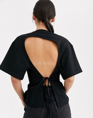 Asos seam front backless t-shirt-Black