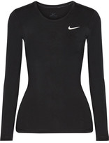 Nike Pro Cool Mesh-paneled Dri-fit Stretch-jersey Top - Black