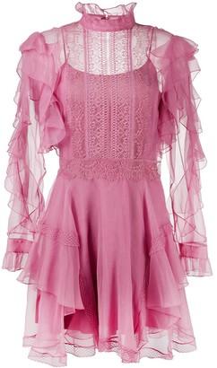 Alberta Ferretti Ruffle-Panelled Mini Dress