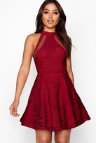 boohoo Lace High Neck Skater Dress