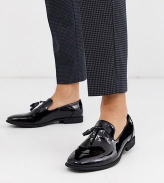 Asos Design DESIGN Wide Fit tassel loafers in black patent