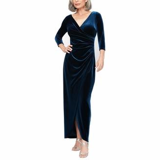 Alex Evenings Women's Long 3/4 Sleeve Velvet Dress