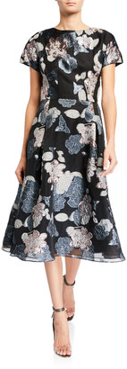Rickie Freeman For Teri Jon Cap-Sleeve Organza Metallic Floral Jacquard Dress