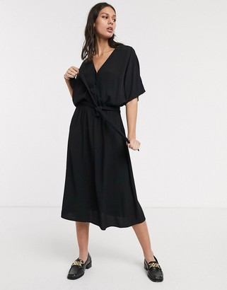 Selected midi wrap dress with kimono sleeve in black