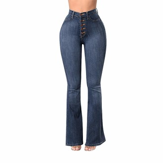 ITISME Flare Jeans Women Plus Size Women Elastic Loose Denim Pocket Button Casual Boot Cut Jeans Ladies Trousers