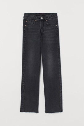 H&M Straight High Ankle Jeans - Gray