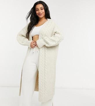 ASOS DESIGN Curve lounge maxi cable knit cardigan in cream