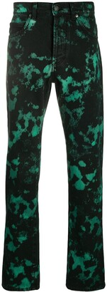 MSGM Bleached-Effect Straight-Leg Jeans