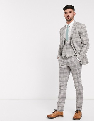 Topman skinny fit checked suit pants in beige
