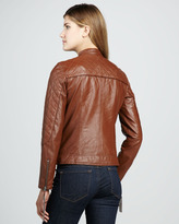 Neiman Marcus Quilted Leather Motorcycle Jacket, Camel