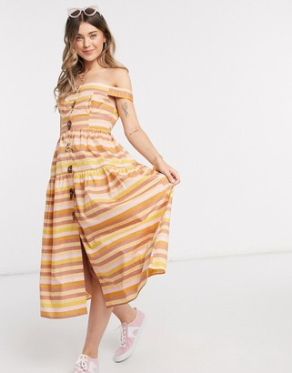 ASOS DESIGN cotton poplin off shoulder midi sundress with mixed buttons in stripe
