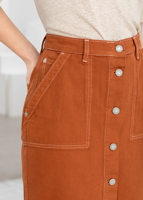 And other stories Mid Rise Denim Midi Skirt