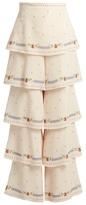 Vilshenko Phoebe floral-print silk tiered trousers