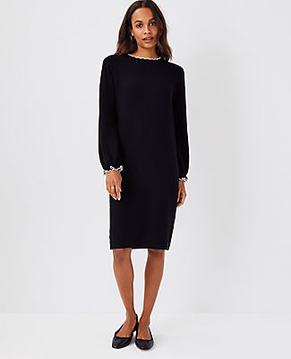 Ann Taylor Petite Tipped Ribbed Sweater Dress
