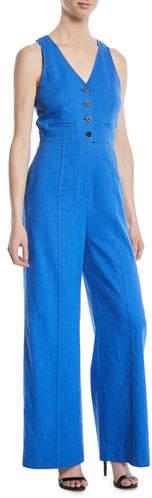 Diane von Furstenberg Fitted Button-Front Linen-Stretch Jumpsuit