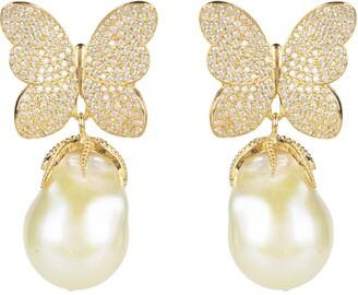 Latelita White Butterfly Baroque Pearl Earring Gold