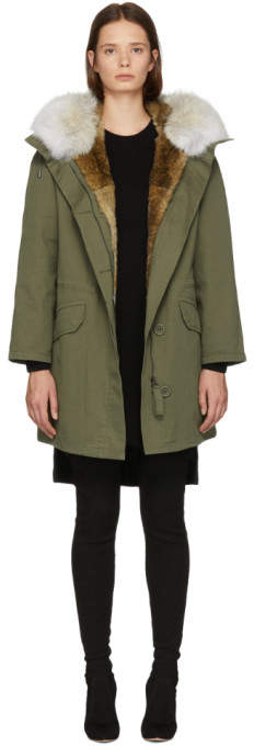 Yves Salomon Army Green Multi Fur Classic Long Parka