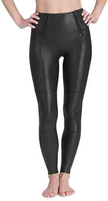 Spanx Faux Leather Hip Zip Leggings