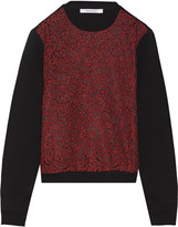 Carven Lace-paneled cotton-jersey top