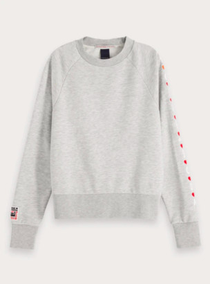 Scotch & Soda Grey Melange Sweatshirt - Red Embroidered Hearts - L