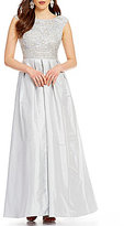 Aidan Mattox Round Neck Cap Sleeve Beaded Lace A-Line Gown
