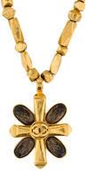 Chanel Quatrefoil Motif Cross Pendant Necklace
