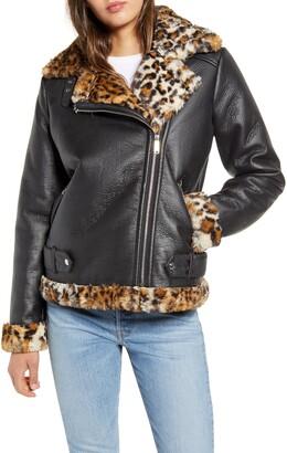 Sam Edelman Oversize Faux Shearling Faux Leather Moto Jacket