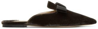 Jimmy Choo Brown Velvet Galaxy Flat Loafers